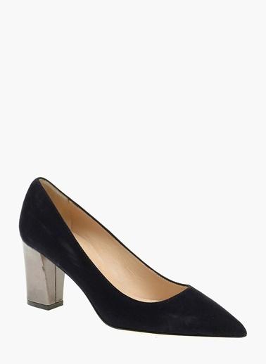 Divarese %100 Deri Kalın Topuklu Ayakkabı Lacivert